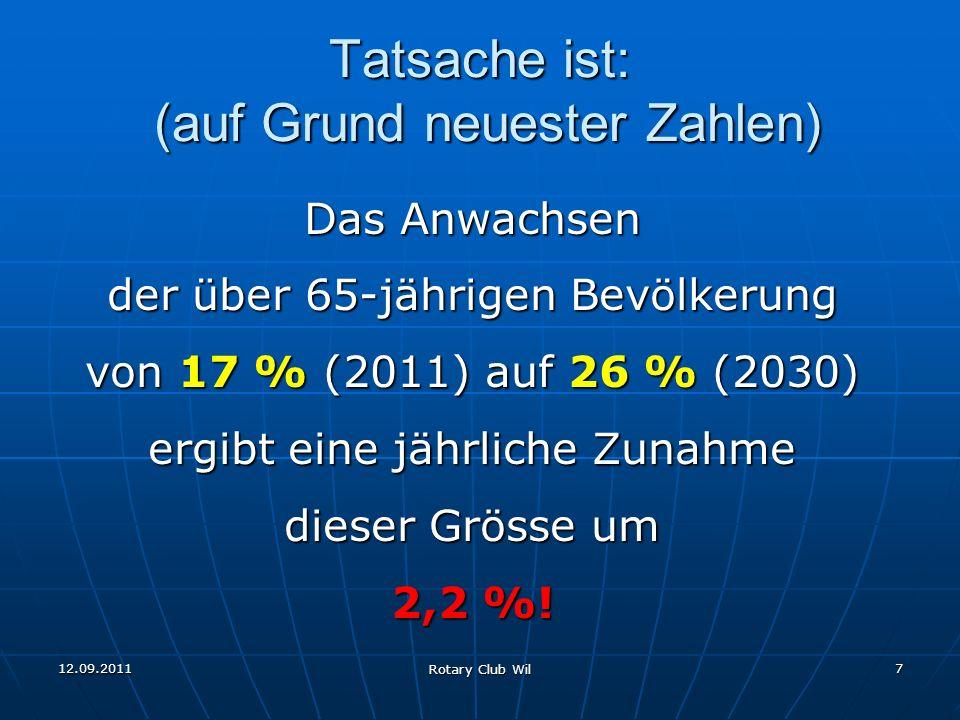 12.09.2011 Rotary Club Wil 7 Tatsache ist: (auf Grund neuester Zahlen) Das Anwachsen der über 65-jährigen Bevölkerung von 17 % (2011) auf 26 % (2030)