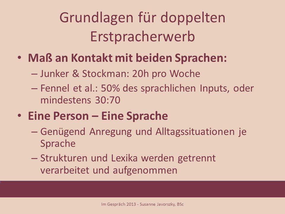 Grundlagen für doppelten Erstpracherwerb Maß an Kontakt mit beiden Sprachen: – Junker & Stockman: 20h pro Woche – Fennel et al.: 50% des sprachlichen