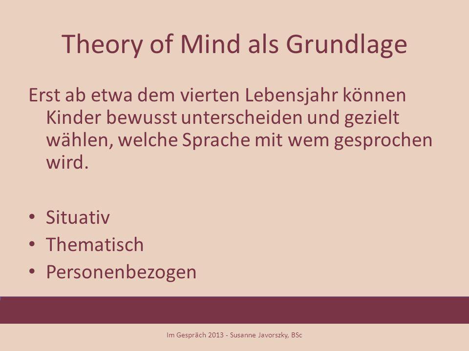 Theory of Mind als Grundlage Erst ab etwa dem vierten Lebensjahr können Kinder bewusst unterscheiden und gezielt wählen, welche Sprache mit wem gespro