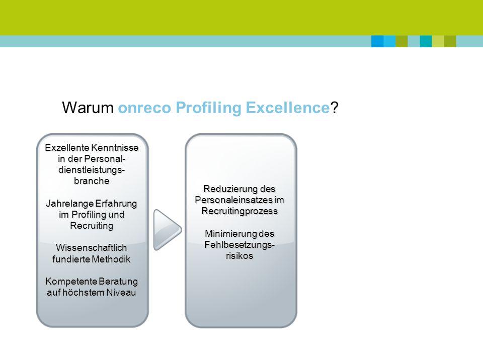 Warum onreco Profiling Excellence.
