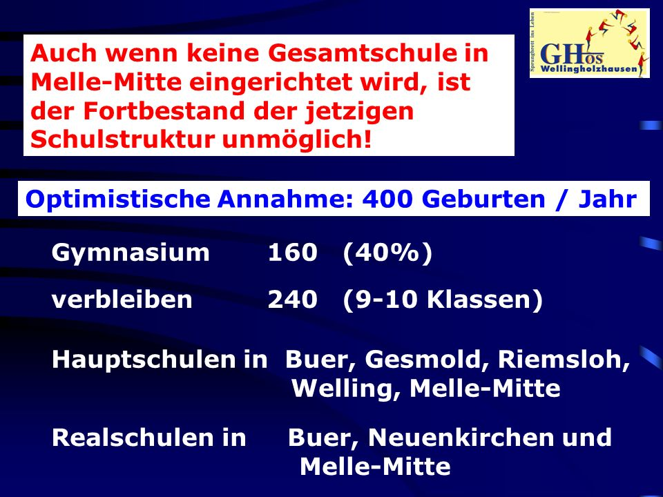 Auch wenn keine Gesamtschule in Melle-Mitte eingerichtet wird, ist der Fortbestand der jetzigen Schulstruktur unmöglich.