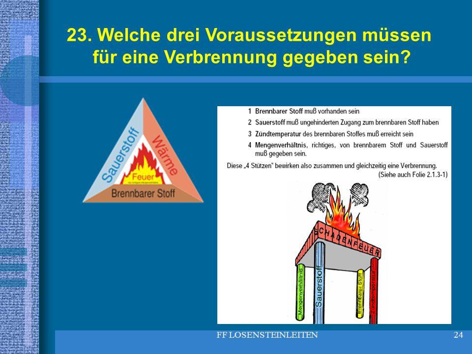 FF LOSENSTEINLEITEN24 23. Welche drei Voraussetzungen müssen für eine Verbrennung gegeben sein?