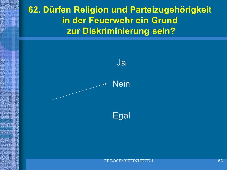 FF LOSENSTEINLEITEN63 62. Dürfen Religion und Parteizugehörigkeit in der Feuerwehr ein Grund zur Diskriminierung sein? Ja Nein Egal