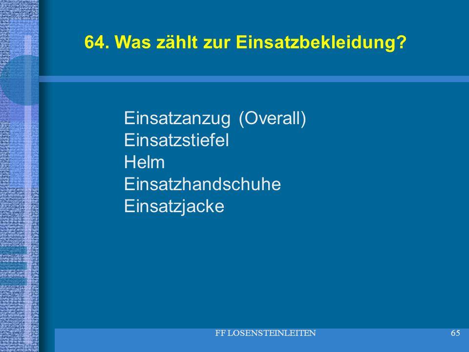 FF LOSENSTEINLEITEN65 64. Was zählt zur Einsatzbekleidung? Einsatzanzug (Overall) Einsatzstiefel Helm Einsatzhandschuhe Einsatzjacke