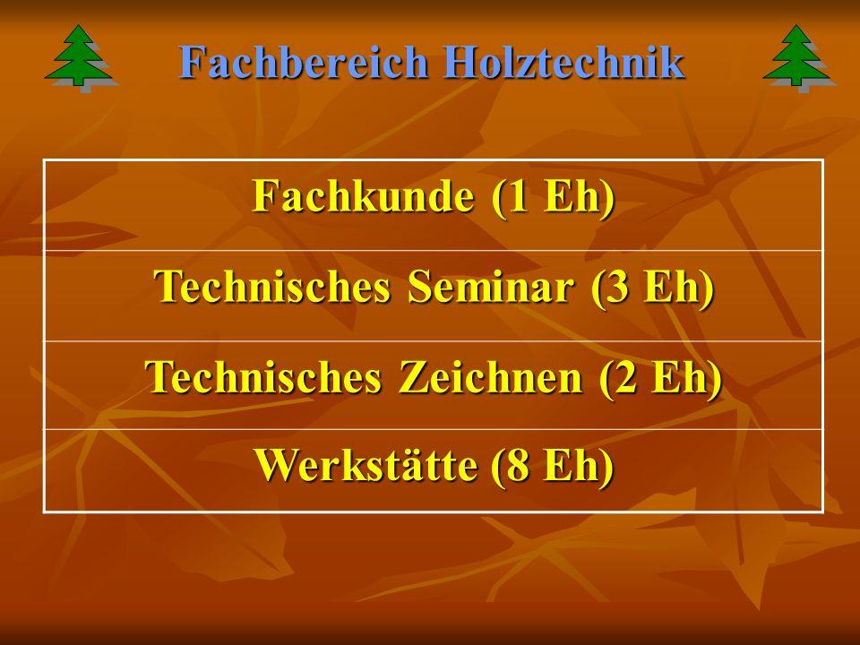 Fachbereich Holztechnik Fachkunde (1 Eh) Technisches Seminar (3 Eh) Technisches Zeichnen (2 Eh) Werkstätte (8 Eh)