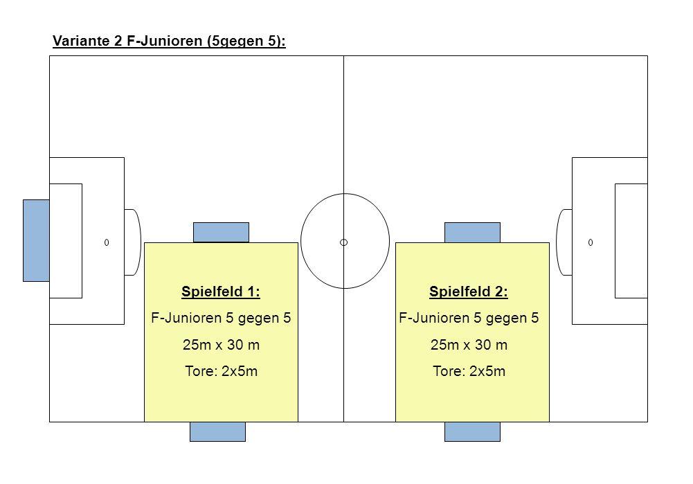 Spielfeld 1: F-Junioren 5 gegen 5 25m x 30 m Tore: 2x5m Spielfeld 2: F-Junioren 5 gegen 5 25m x 30 m Tore: 2x5m Variante 2 F-Junioren (5gegen 5):