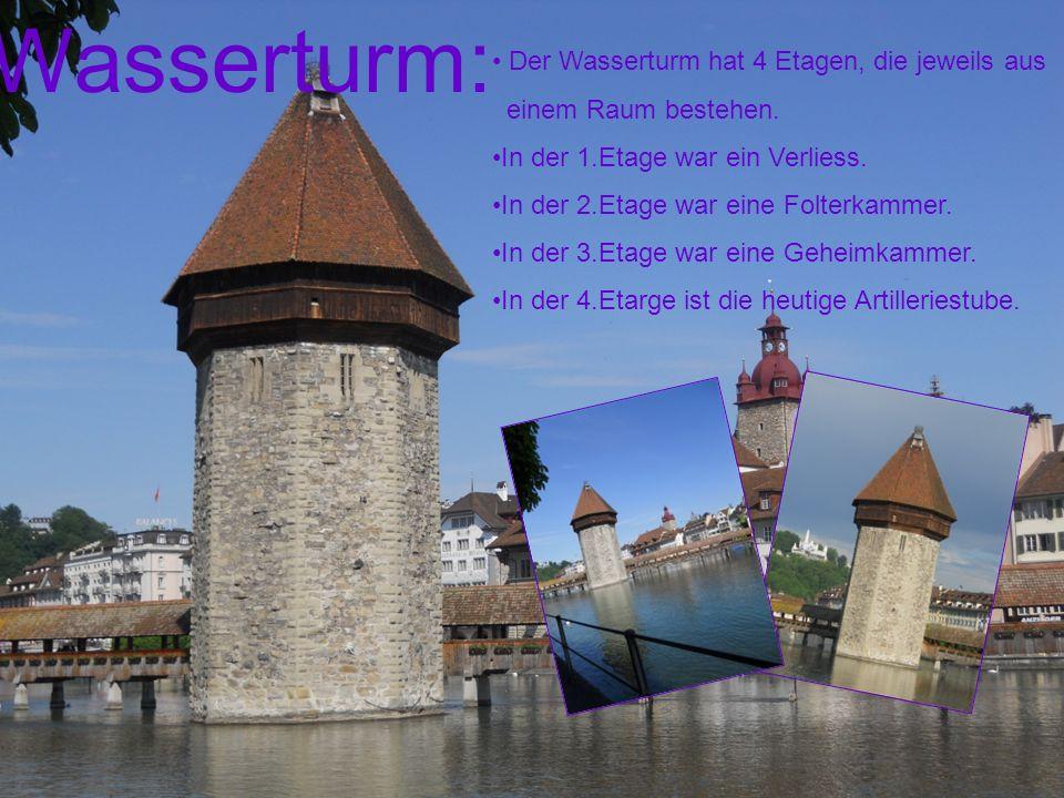 Wasserturm: Der Wasserturm hat 4 Etagen, die jeweils aus einem Raum bestehen. In der 1.Etage war ein Verliess. In der 2.Etage war eine Folterkammer. I