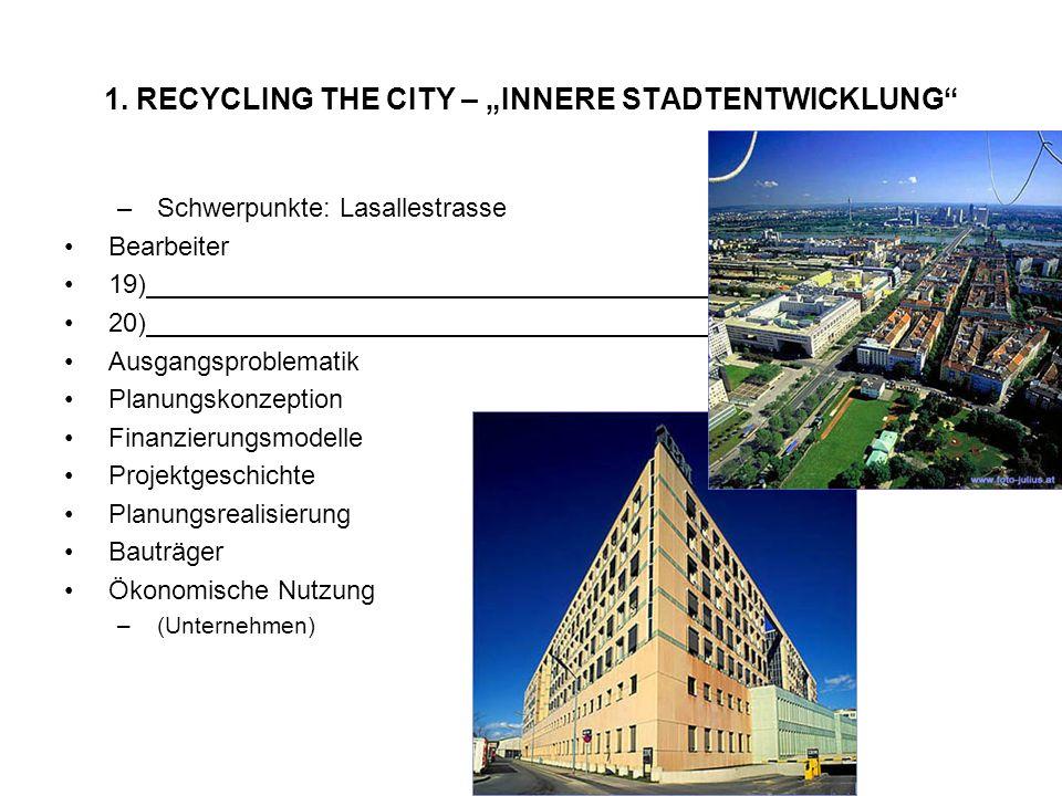 1. RECYCLING THE CITY – INNERE STADTENTWICKLUNG –Schwerpunkte: Lasallestrasse Bearbeiter 19) 20) Ausgangsproblematik Planungskonzeption Finanzierungsm