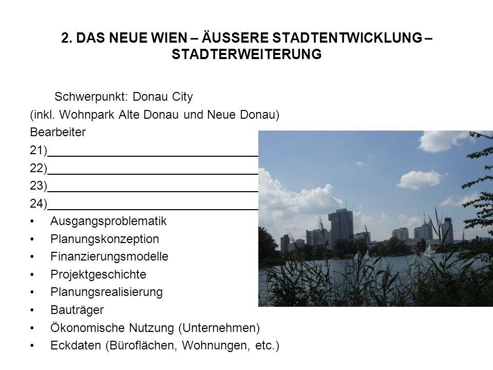 Schwerpunkt: Donau City (inkl. Wohnpark Alte Donau und Neue Donau) Bearbeiter 21) 22) 23) 24) Ausgangsproblematik Planungskonzeption Finanzierungsmode