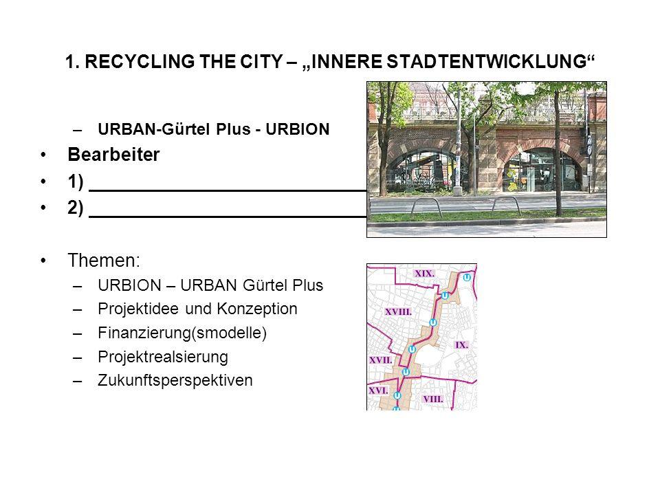 1. RECYCLING THE CITY – INNERE STADTENTWICKLUNG –URBAN-Gürtel Plus - URBION Bearbeiter 1) 2) Themen: –URBION – URBAN Gürtel Plus –Projektidee und Konz