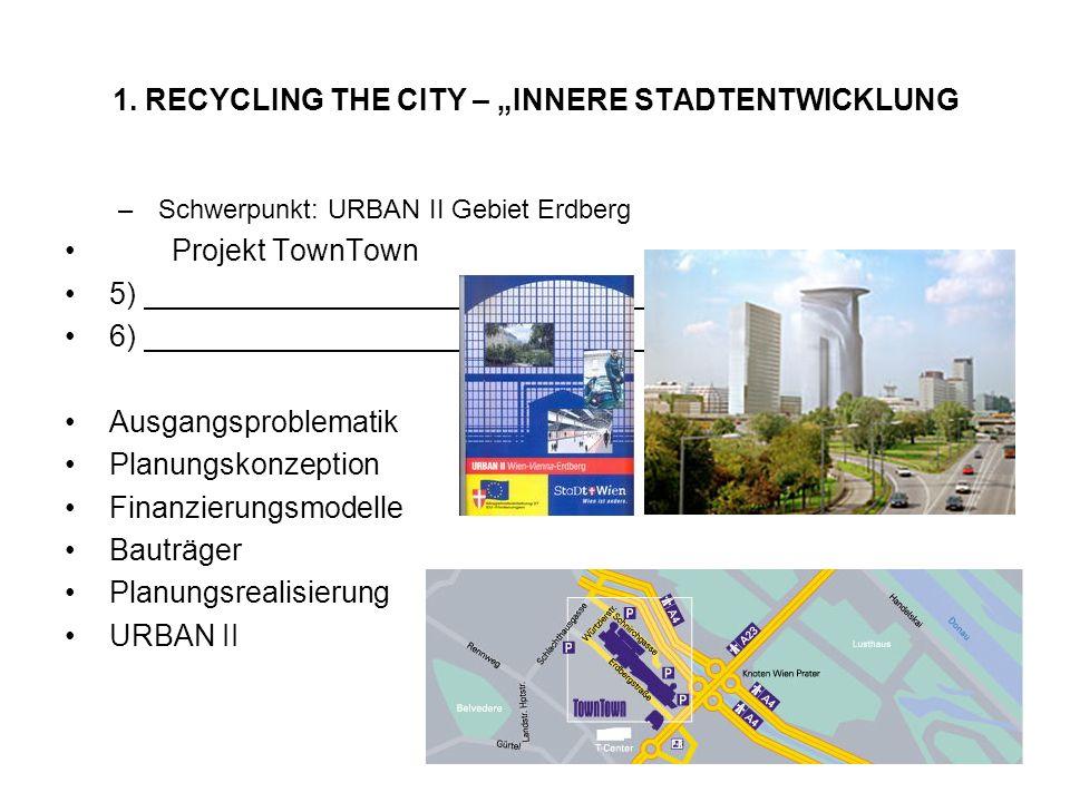 1. RECYCLING THE CITY – INNERE STADTENTWICKLUNG –Schwerpunkt: URBAN II Gebiet Erdberg Projekt TownTown 5) 6) Ausgangsproblematik Planungskonzeption Fi