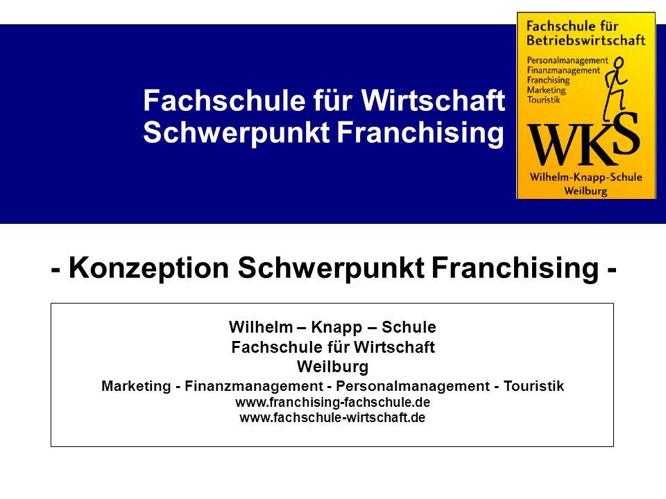 Fachschule für Wirtschaft Schwerpunkt Franchising - Konzeption Schwerpunkt Franchising - Wilhelm – Knapp – Schule Fachschule für Wirtschaft Weilburg M