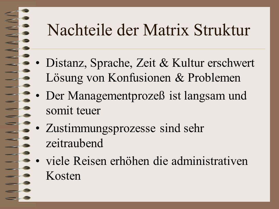 Nachteile der Matrix Struktur Distanz, Sprache, Zeit & Kultur erschwert Lösung von Konfusionen & Problemen Der Managementprozeß ist langsam und somit