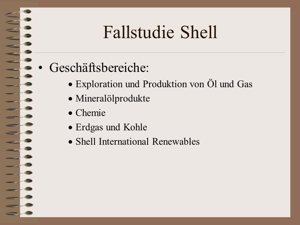 Fallstudie Shell Geschäftsbereiche: Exploration und Produktion von Öl und Gas Mineralölprodukte Chemie Erdgas und Kohle Shell International Renewables