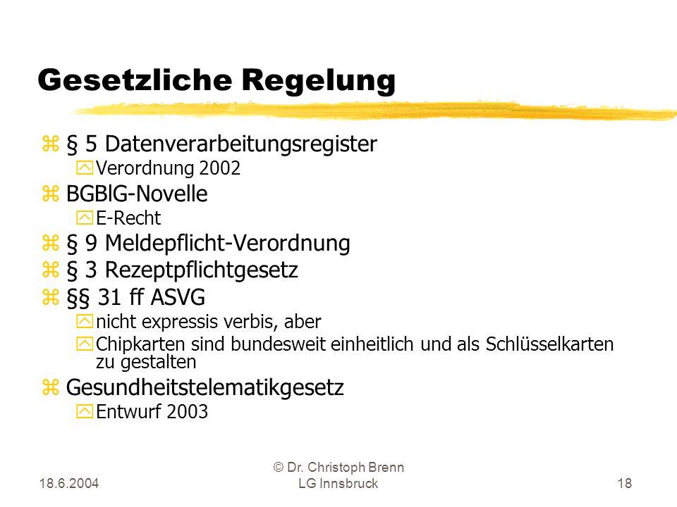 18.6.2004 © Dr. Christoph Brenn LG Innsbruck18 Gesetzliche Regelung z§ 5 Datenverarbeitungsregister yVerordnung 2002 zBGBlG-Novelle yE-Recht z§ 9 Meld