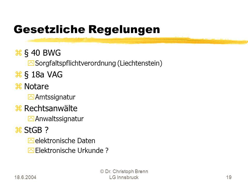 18.6.2004 © Dr. Christoph Brenn LG Innsbruck19 Gesetzliche Regelungen z§ 40 BWG ySorgfaltspflichtverordnung (Liechtenstein) z§ 18a VAG zNotare yAmtssi