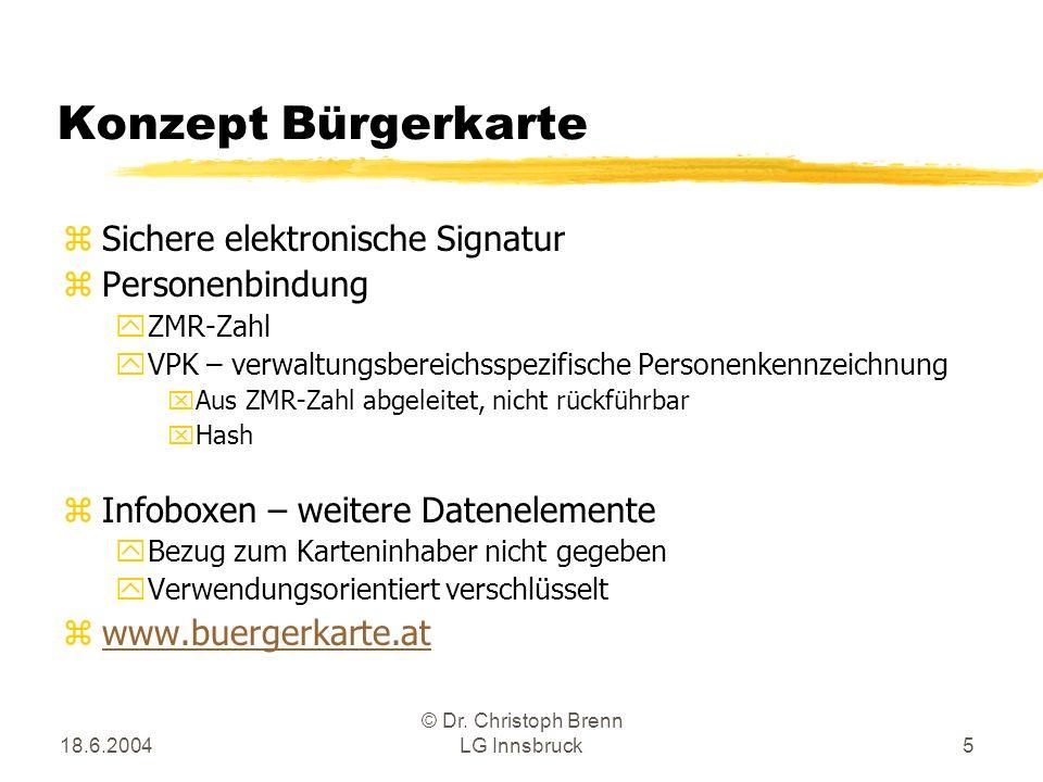 18.6.2004 © Dr. Christoph Brenn LG Innsbruck5 Konzept Bürgerkarte zSichere elektronische Signatur zPersonenbindung yZMR-Zahl yVPK – verwaltungsbereich