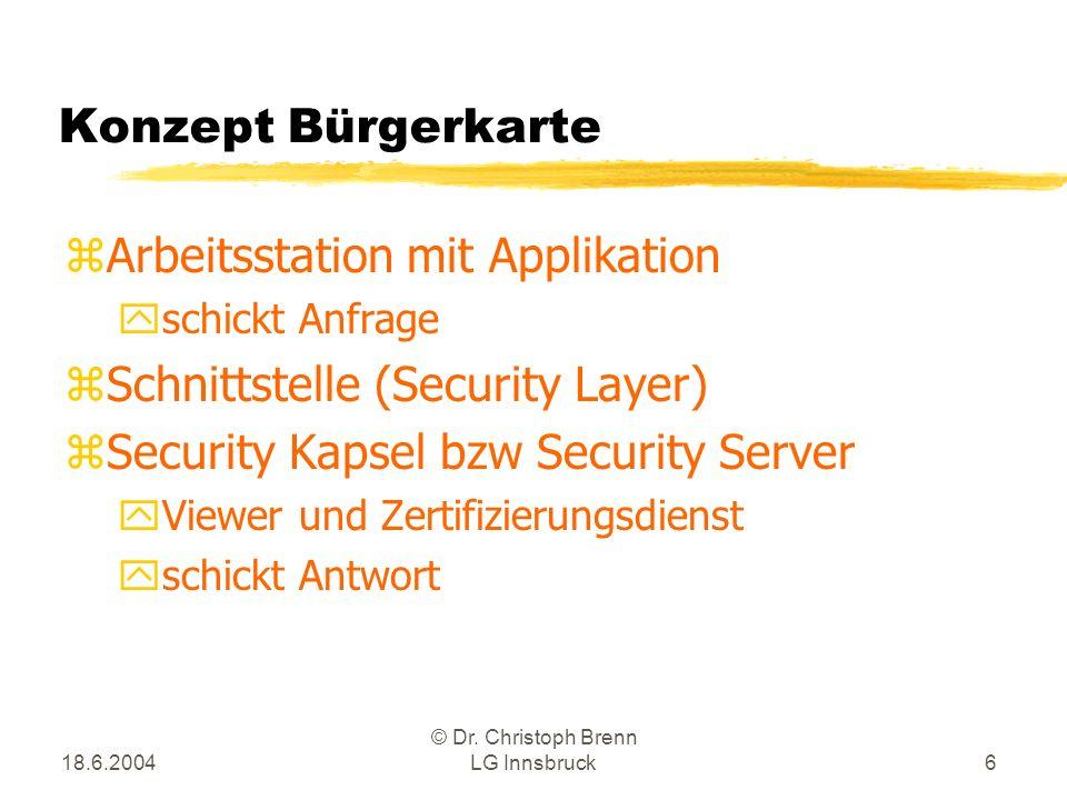 18.6.2004 © Dr. Christoph Brenn LG Innsbruck6 Konzept Bürgerkarte zArbeitsstation mit Applikation yschickt Anfrage zSchnittstelle (Security Layer) zSe