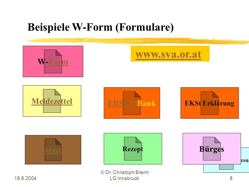 18.6.2004 © Dr. Christoph Brenn LG Innsbruck8 Beispiele W-Form (Formulare) Meldezettel RAIKA Bausparen Rezept Bürges W-Form Umsatzsteuer EKSt Erklärun