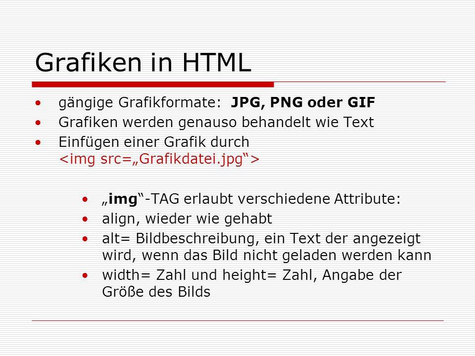Grafiken in HTML gängige Grafikformate: JPG, PNG oder GIF Grafiken werden genauso behandelt wie Text Einfügen einer Grafik durch img-TAG erlaubt verschiedene Attribute: align, wieder wie gehabt alt= Bildbeschreibung, ein Text der angezeigt wird, wenn das Bild nicht geladen werden kann width= Zahl und height= Zahl, Angabe der Größe des Bilds