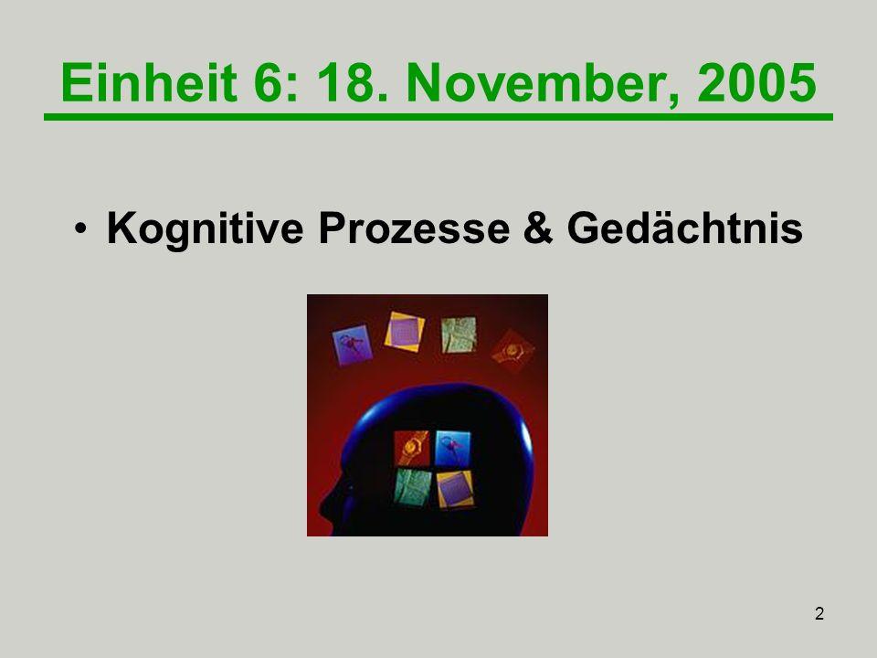 2 Einheit 6: 18. November, 2005 Kognitive Prozesse & Gedächtnis