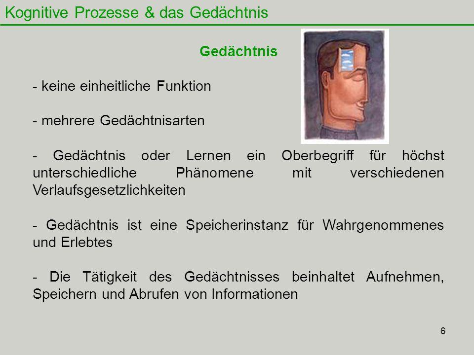 7 Kognitive Prozesse & das Gedächtnis Das Mehrspeicher-Modell Einteilung in 1.
