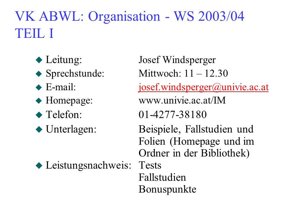 VK ABWL: Organisation - WS 2003/04 TEIL I u Leitung: Josef Windsperger u Sprechstunde:Mittwoch: 11 – 12.30 u E-mail:josef.windsperger@univie.ac.atjose