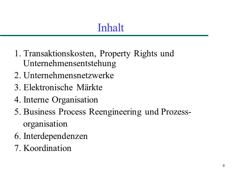 4 Inhalt 1. Transaktionskosten, Property Rights und Unternehmensentstehung 2. Unternehmensnetzwerke 3. Elektronische Märkte 4. Interne Organisation 5.