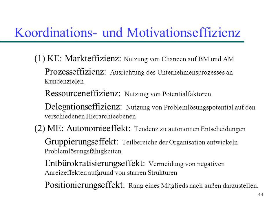44 Koordinations- und Motivationseffizienz (1) KE: Markteffizienz: Nutzung von Chancen auf BM und AM Prozesseffizienz: Ausrichtung des Unternehmenspro