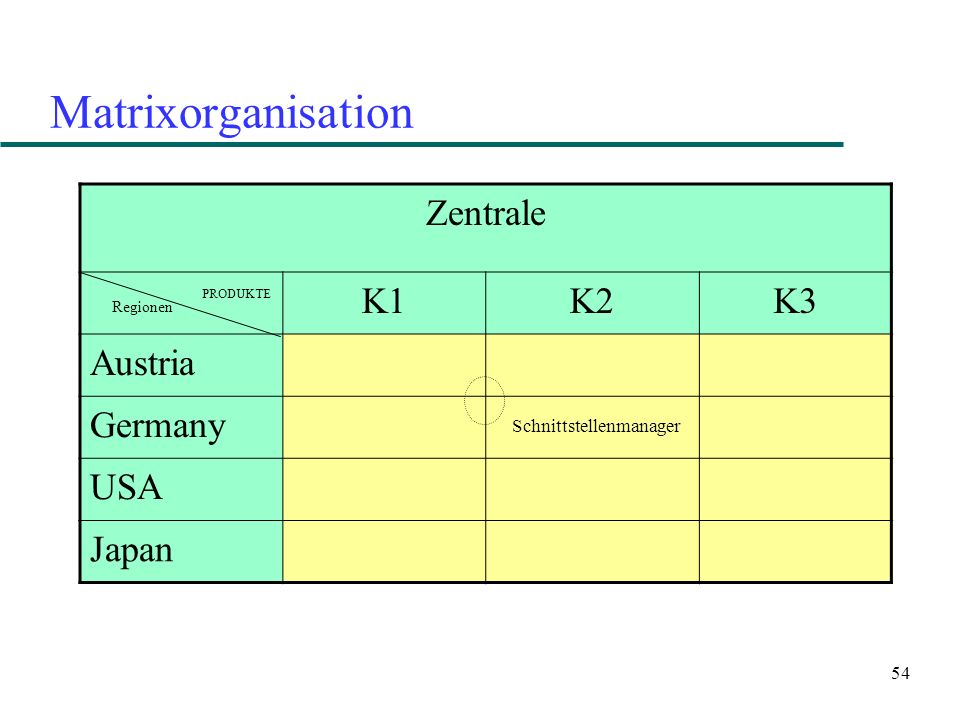 54 Matrixorganisation Zentrale K1K2K3 Austria Germany USA Japan PRODUKTE Regionen Schnittstellenmanager
