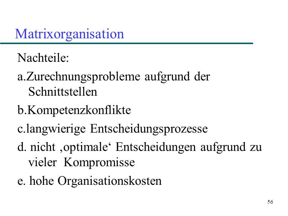 56 Matrixorganisation Nachteile: a.Zurechnungsprobleme aufgrund der Schnittstellen b.Kompetenzkonflikte c.langwierige Entscheidungsprozesse d. nicht o
