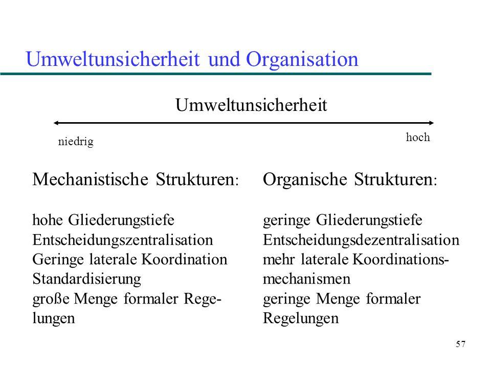 57 Umweltunsicherheit und Organisation Umweltunsicherheit niedrig hoch Mechanistische Strukturen : hohe Gliederungstiefe Entscheidungszentralisation G