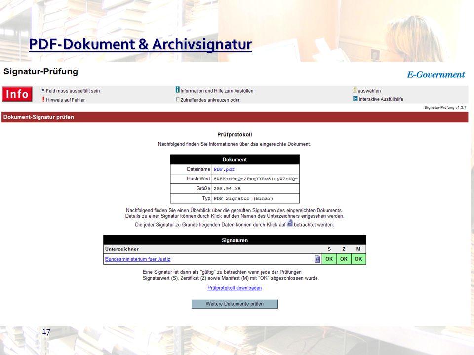 17 PDF-Dokument & Archivsignatur