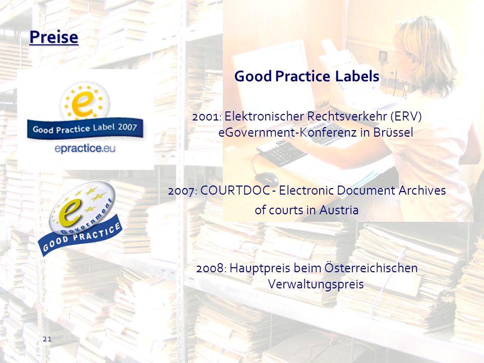 21 Good Practice Labels 2001: Elektronischer Rechtsverkehr (ERV) eGovernment-Konferenz in Brüssel 2007: COURTDOC - Electronic Document Archives of cou
