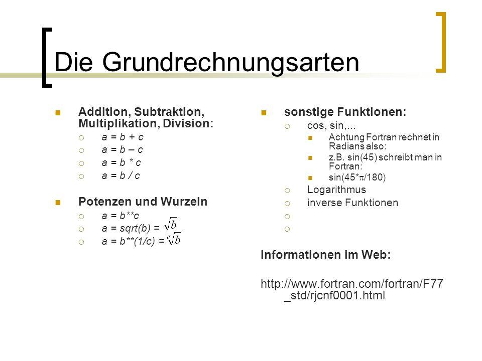 Die Grundrechnungsarten Addition, Subtraktion, Multiplikation, Division: a = b + c a = b – c a = b * c a = b / c Potenzen und Wurzeln a = b**c a = sqr