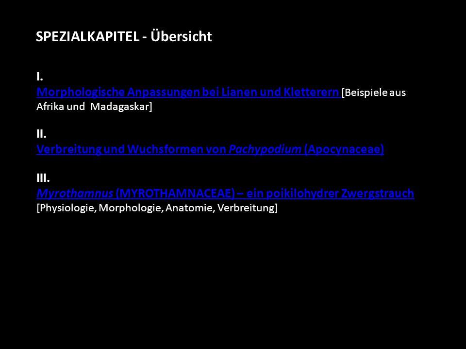 SPEZIALKAPITEL - Übersicht I. Morphologische Anpassungen bei Lianen und Kletterern Morphologische Anpassungen bei Lianen und Kletterern [Beispiele aus