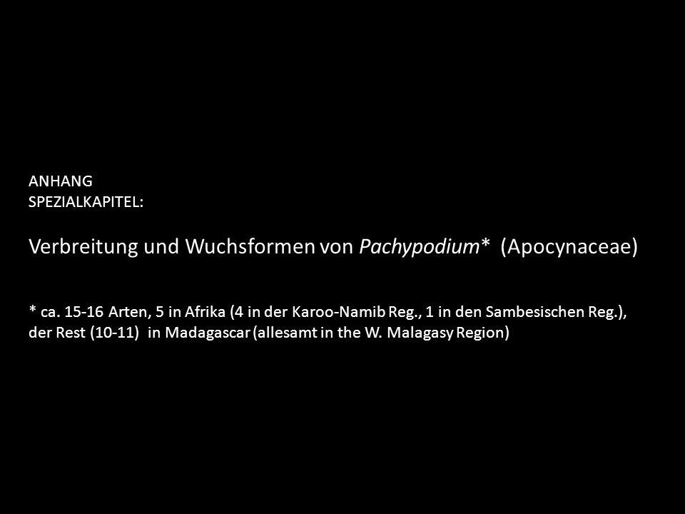 ANHANG SPEZIALKAPITEL: Verbreitung und Wuchsformen von Pachypodium* (Apocynaceae) * ca. 15-16 Arten, 5 in Afrika (4 in der Karoo-Namib Reg., 1 in den