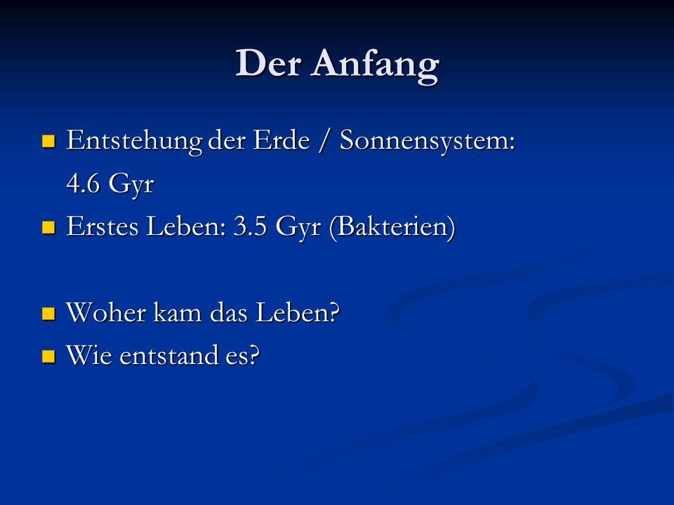 Der Anfang Entstehung der Erde / Sonnensystem: Entstehung der Erde / Sonnensystem: 4.6 Gyr Erstes Leben: 3.5 Gyr (Bakterien) Erstes Leben: 3.5 Gyr (Ba