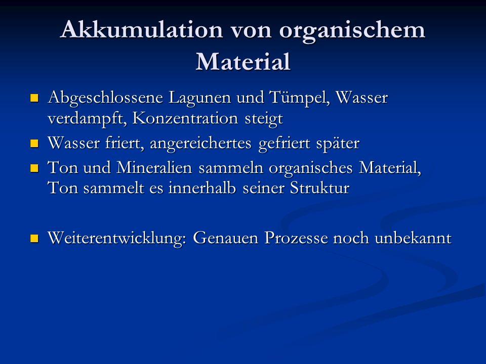 Akkumulation von organischem Material Abgeschlossene Lagunen und Tümpel, Wasser verdampft, Konzentration steigt Abgeschlossene Lagunen und Tümpel, Was