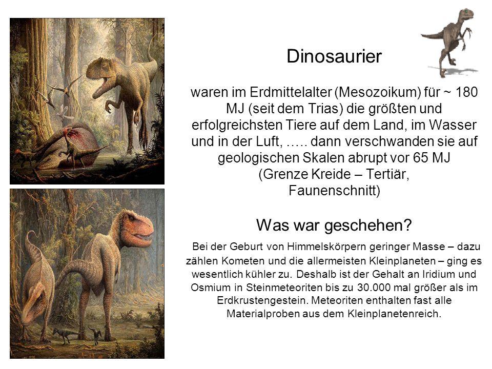 Dinosaurier waren im Erdmittelalter (Mesozoikum) für ~ 180 MJ (seit dem Trias) die größten und erfolgreichsten Tiere auf dem Land, im Wasser und in de