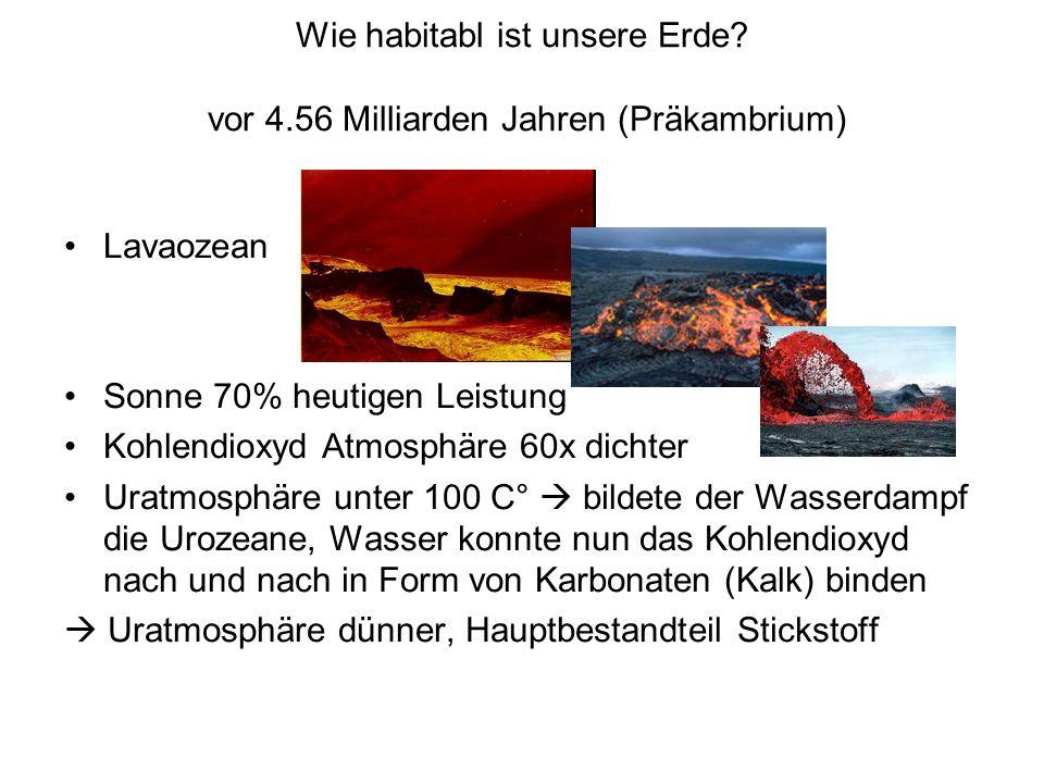 Wie habitabl ist unsere Erde? vor 4.56 Milliarden Jahren (Präkambrium) Lavaozean Sonne 70% heutigen Leistung Kohlendioxyd Atmosphäre 60x dichter Uratm