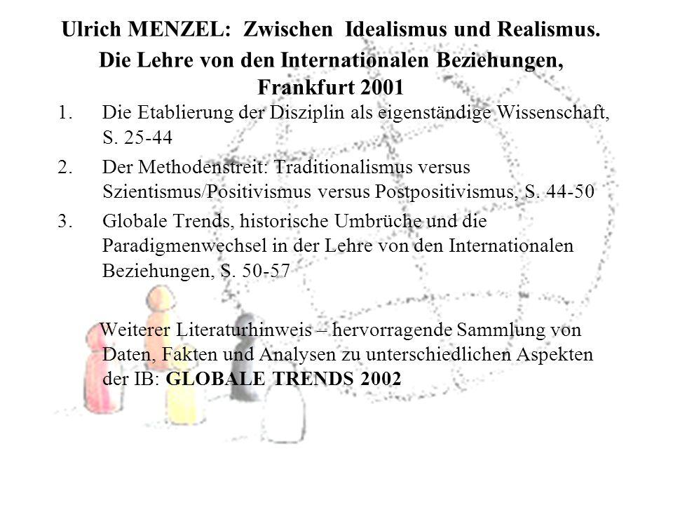 Ulrich MENZEL: Zwischen Idealismus und Realismus.