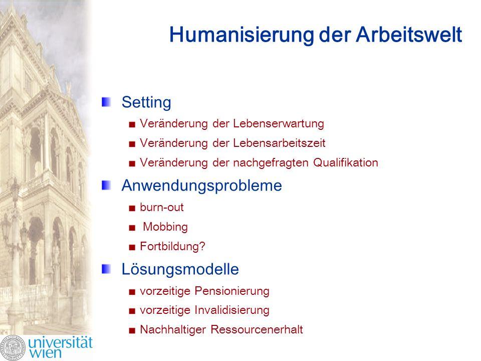 Humanisierung der Arbeitswelt Setting Veränderung der Lebenserwartung Veränderung der Lebensarbeitszeit Veränderung der nachgefragten Qualifikation Anwendungsprobleme burn-out Mobbing Fortbildung.