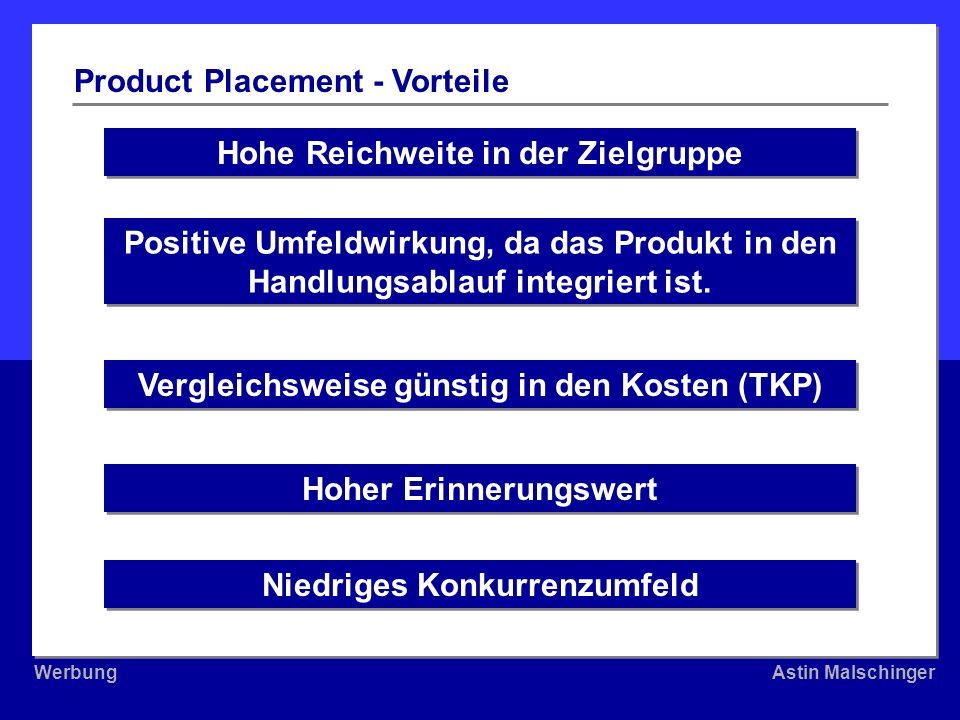 WerbungAstin Malschinger WerbungAstin Malschinger Hohe Reichweite in der Zielgruppe Product Placement - Vorteile Positive Umfeldwirkung, da das Produk