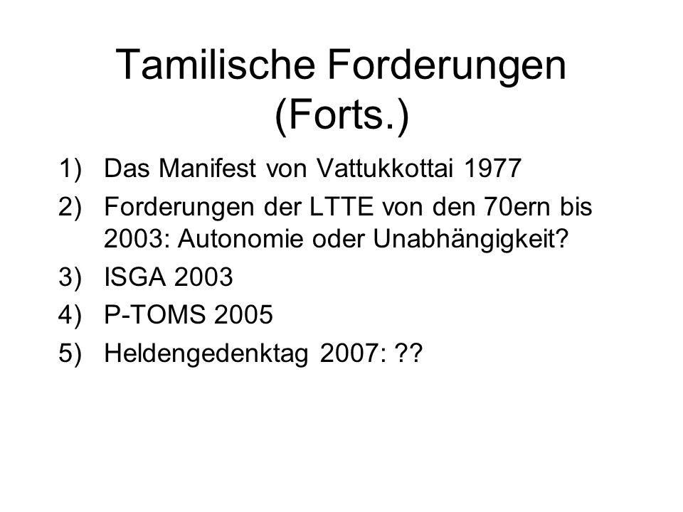 Dornige Probleme I: Tamilische Forderungen von den 40ern bis zum 21. Jh. 1)Die 50/50 Forderung G.G. Ponnambalams 2)Regelungen des Banda- Chelva Pacts