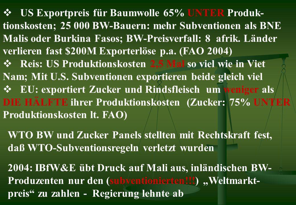 US Exportpreis für Baumwolle 65% UNTER Produk- tionskosten; 25 000 BW-Bauern: mehr Subventionen als BNE Malis oder Burkina Fasos; BW-Preisverfall: 8 a