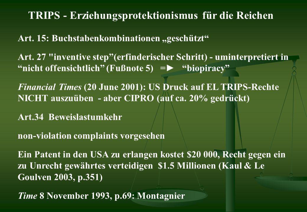TRIPS - Erziehungsprotektionismus für die Reichen Art. 15: Buchstabenkombinationen geschützt Art. 27