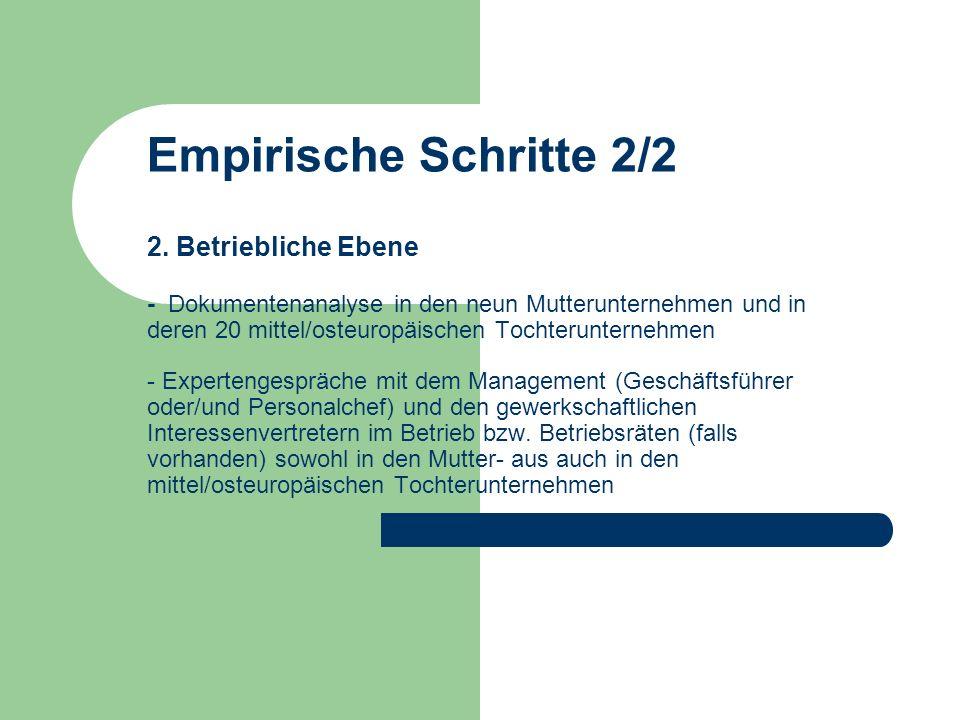 Tabelle 1: Unternehmensauswahl UnternehmenBranchePolenTschechienSlowakei Volkswagen AGMetall/AutomobilXXX Robert Bosch GmbHMetallXX Siemens AGMetall/ElektroXX RWE AGEnergieXXX Nestlé SANahrungsmittelXXX Dr.