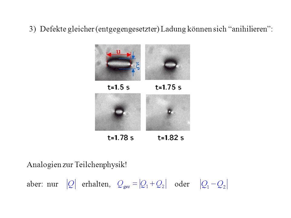 3) Defekte gleicher (entgegengesetzter) Ladung können sich anihilieren: Analogien zur Teilchenphysik.