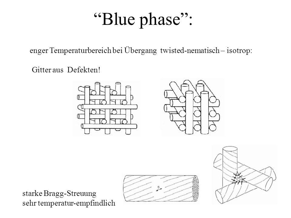 Blue phase: enger Temperaturbereich bei Übergang twisted-nematisch – isotrop: Gitter aus Defekten! starke Bragg-Streuung sehr temperatur-empfindlich